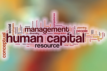 Human capital word cloud with abstract background