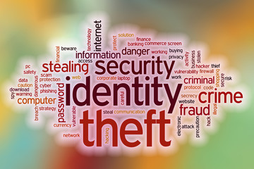 Identity theft word cloud with abstract background