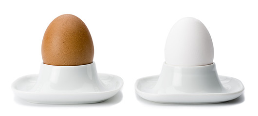 Brown and White Eggs in Eggcups