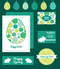 Vector abstract green circles set of Easter cards, labels, tags