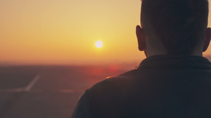 Man look sunrise