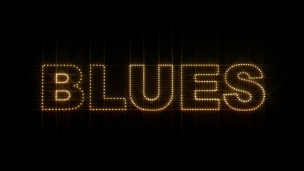 Set of 10 Blues text LEDS reveals with alpha channel