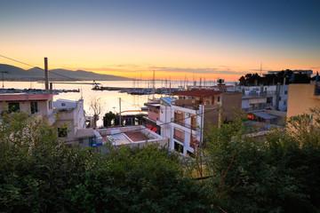 Morning in Mikrolimano marina in Athens, Greece.