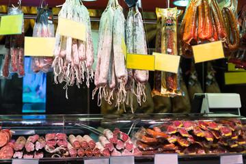 Many meat at the european  market