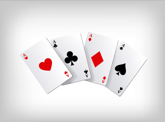 Playing poker cards. Poker aces isolated on gray background