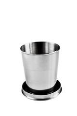 Steel mug for drinking isolated on white background