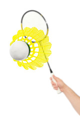 Hand with badminton racket and shuttlecock