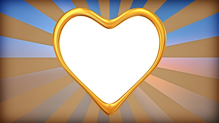 golden heart on abstract background