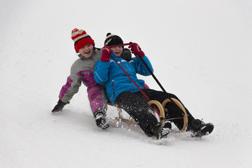 Two little girls in winter activity