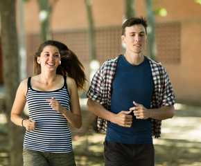 Сouple jogging in morning