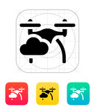 Quadcopter in sky icon. poster