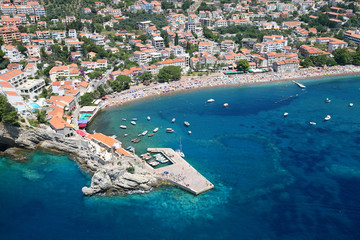 Aerial view of the town Petrovac, Montenegro.