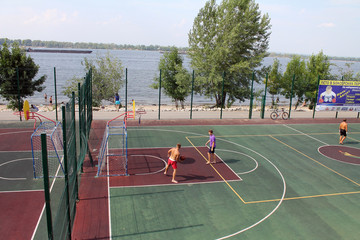 Samara, Russia - August 23, 2014: strangers on the Playground pl