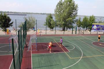 Samara, Russia - August 23, 2014: strangers on the Playground pl