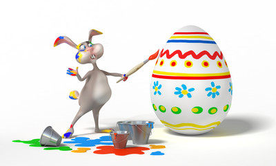 Funny cartoon Easter bunny paints on egg