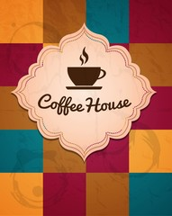 cup of coffee logo on a geometric background