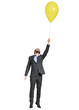 man flying with yellow balloon