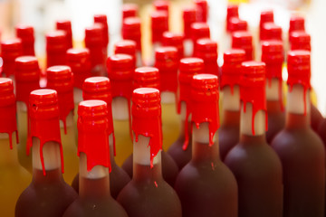 wine bottles at shop or winery