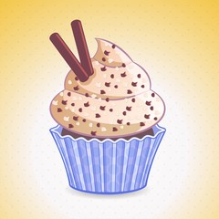 cute cupcake on a gradient background