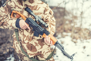 details of equipment and gun on military ranger
