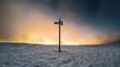 canvas print picture - Nebliger Sonnenuntergang