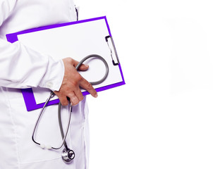 Doctor holding a clipboard and stethoscope over white background