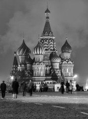 Russia, Moscow, St. Basil Cathedral at sunset