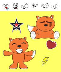 fox baby cartoon expression set