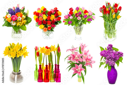 Poster Narcis Bouquet of colorful flowers. tulips, roses, lilac, narcissus, li