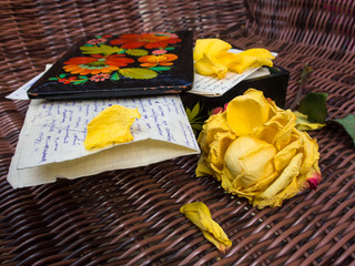 Old Letters, Casket and Rose