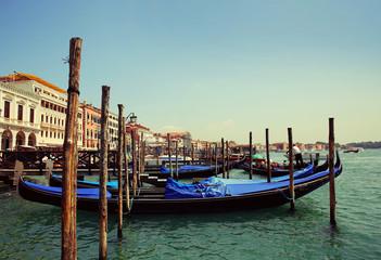 Gondolas moored. Venice, Italy, Europe
