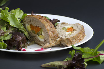 Stuffed meatloaf and green salad