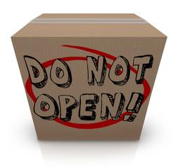 Do Not Open Cardboard Box Special Secret Private Confidential Co