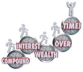 Compound Interest Wealth Over Time Clock Words People Saving Mon