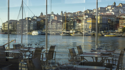 View from the window of the restaurant embankment Ribeira.