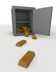 Cassaforte e lingotti di oro