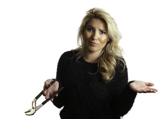 Pretty Blonde Latina Girl Confused by Pliers She's Holding