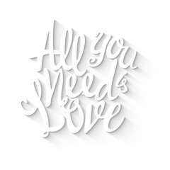 Doodle lettering symbol of love and Valentines day