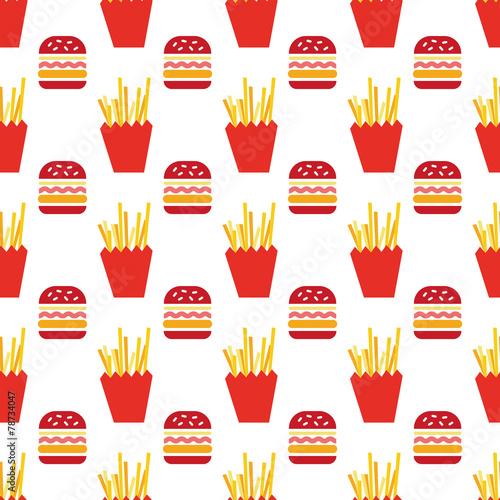 hamburger and fries pattern - 78734047