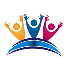 Books happy people students logo vector