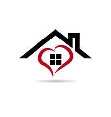 Real estate card house heart logo