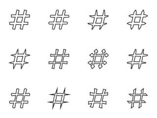 Icon Set of hashtags. Hashtag Symbols