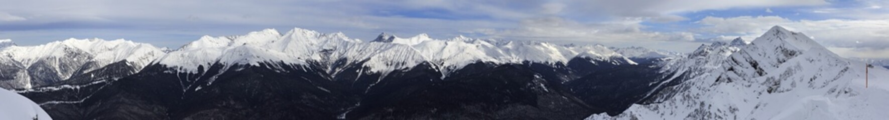 Panorama of Caucasus Mountains in Rosa Khutor Alpine Resort