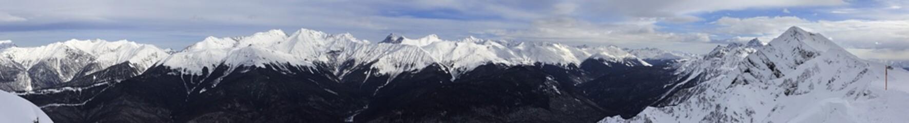 Panorama of Caucasus Mountains in Rosa Khutor Alpine Resort