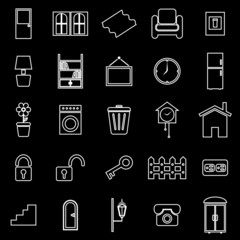 House related line icons on black background