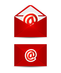 Red vector envelope with e-mail icon, isolated in white backgrou