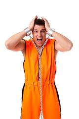 Idea of imprisonment. Screaming man in handcuffs