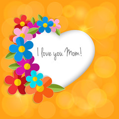 Greeting card on a happy mother's day. Color paper 3d flowers in
