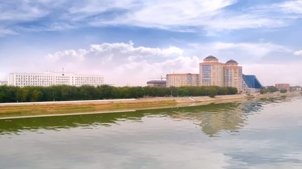 Modern houses on the riverside Ural in city Atyrau