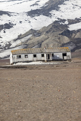 Antarctica Deception Island with old whaling station